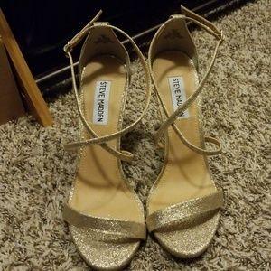 Glittery Gold Heels-by Steve Madden